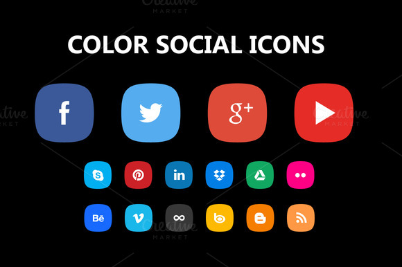Color PSD Social Icons