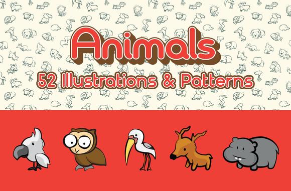 52 Animals Illustration Pattern