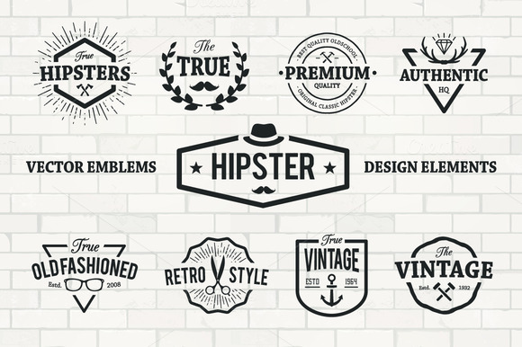 Hipster Emblems Set