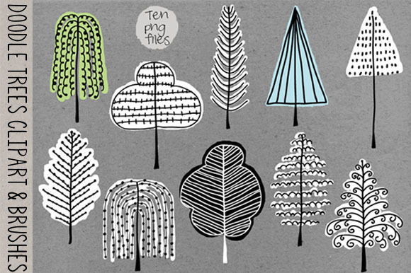 Doodle Trees Clipart Brushes-Stamps