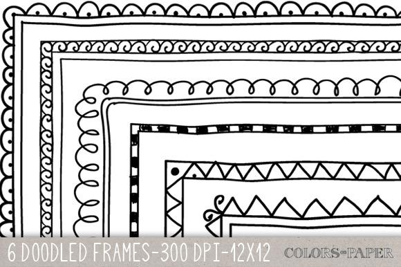 6 Doodle Frames 12x12 Overlays