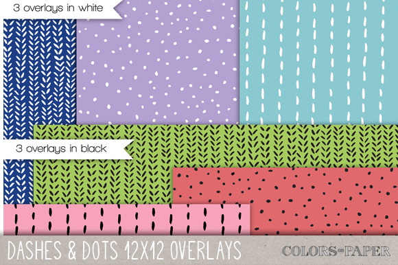 Dashes Dots 12x12 Doodle Overlays