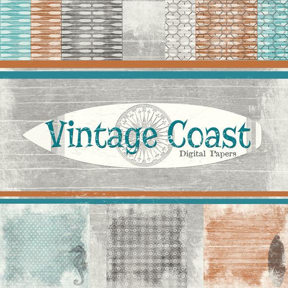 Vintage Coast Beach Background Paper