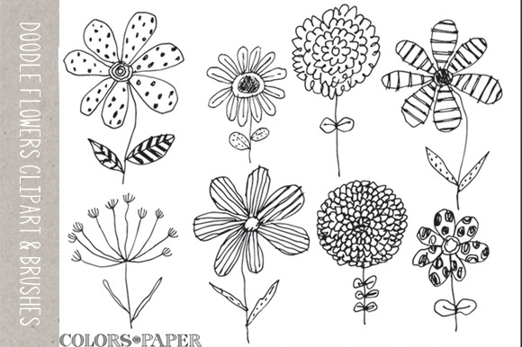 8 Doodle Flowers Clipart Brushes