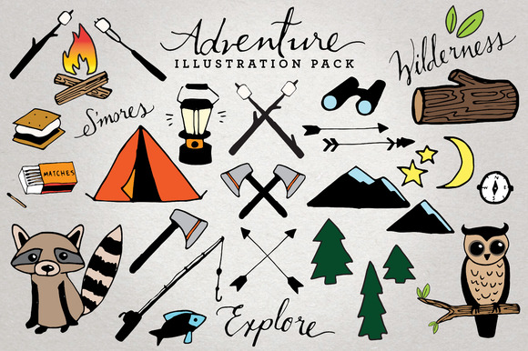 Adventure Camping Illustration Set