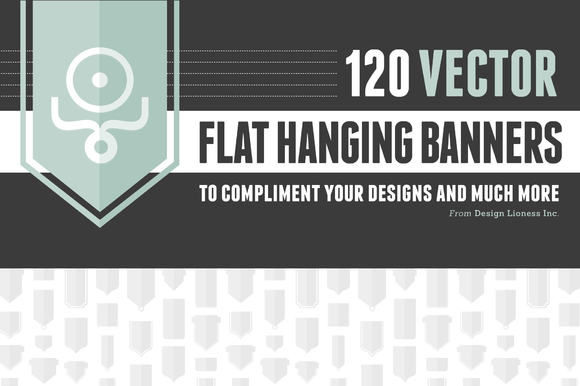 120 Flat Hanging Banners Vector