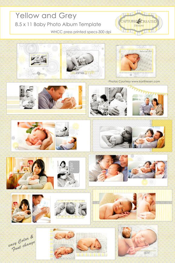 Yellow And Grey Baby Photo Album