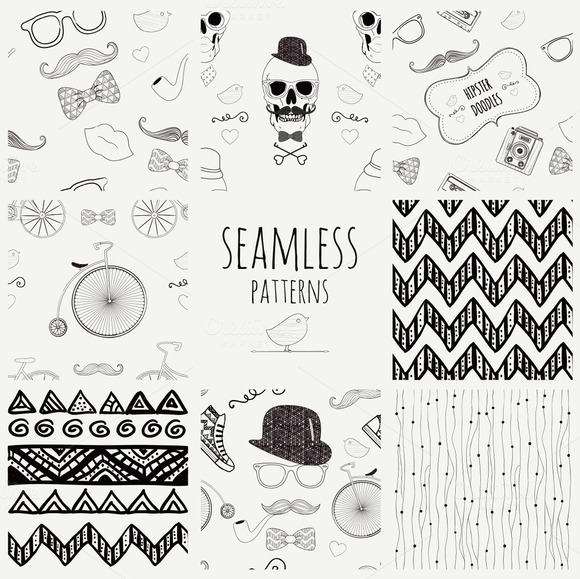 Eight Seamless Hipster Patterns