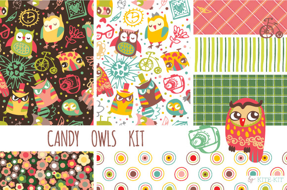 Candy Owls Kit Patterns Clipart
