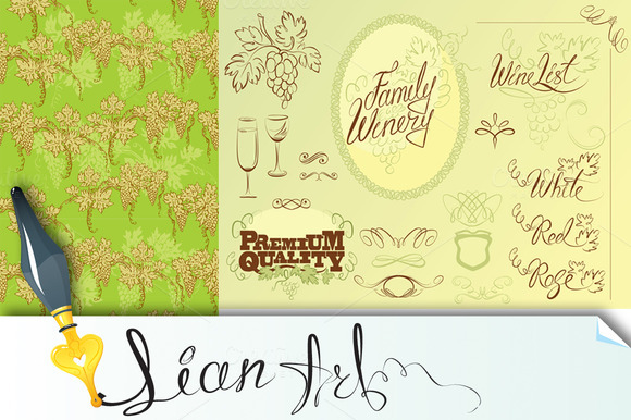 Set Of Wine Design Elements