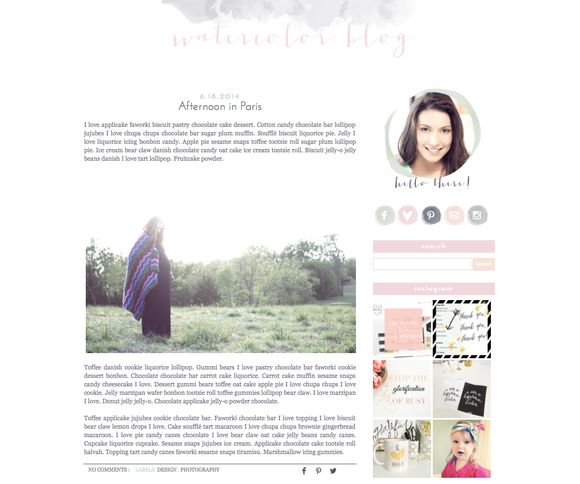 Watercolor Premade Blogger Template