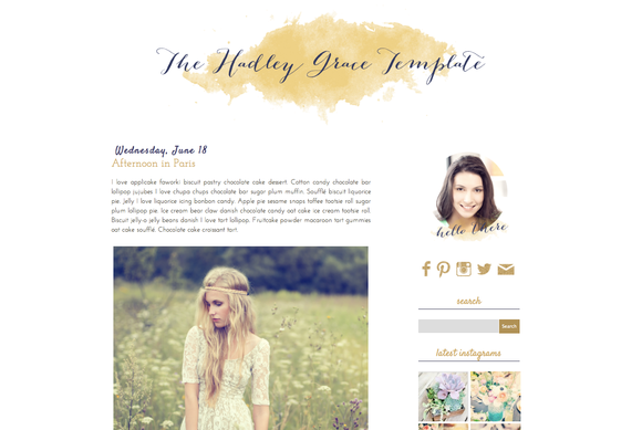 Hadley Grace Blogger Blog Template
