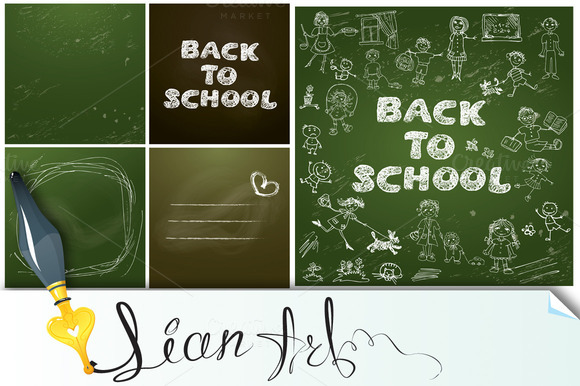Set Of 5 Backgrounds Chalkboard