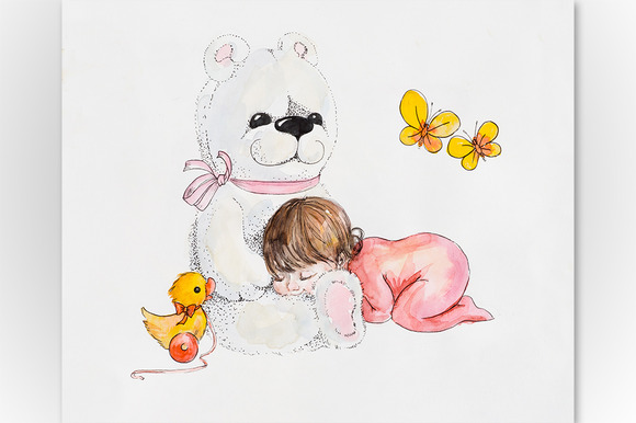 Baby Girl With Big White Teddy