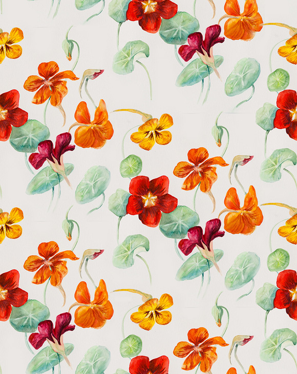 Seamless Pattern With Blossom Flower