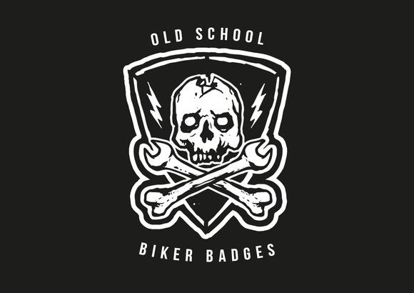 Old School Biker Badges And Elements