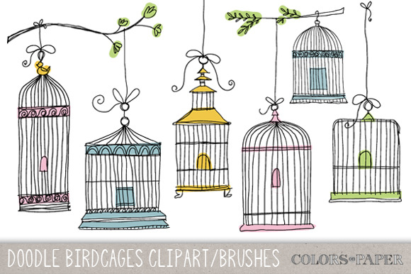 Doodle Birdcages Clipart Brushes