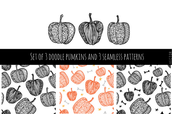 Set Of 3 Pumpkins And 3 Patterns