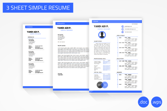 3 Sheet Simple Resume Word Version