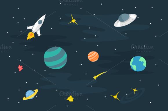 Flat Sky Planet Doodle Art