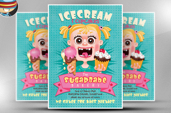 Ice Cream Cup Cakes Flyer Template