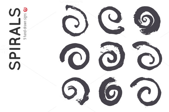9 Spirals Made With Brush