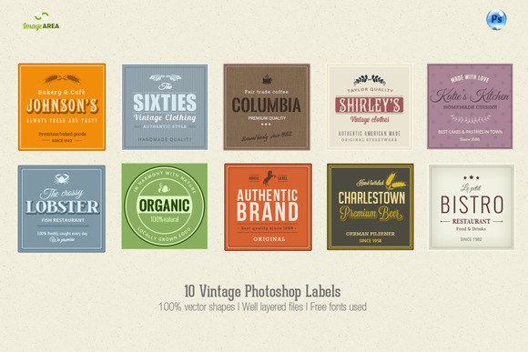 10 Photoshop Vintage Labels
