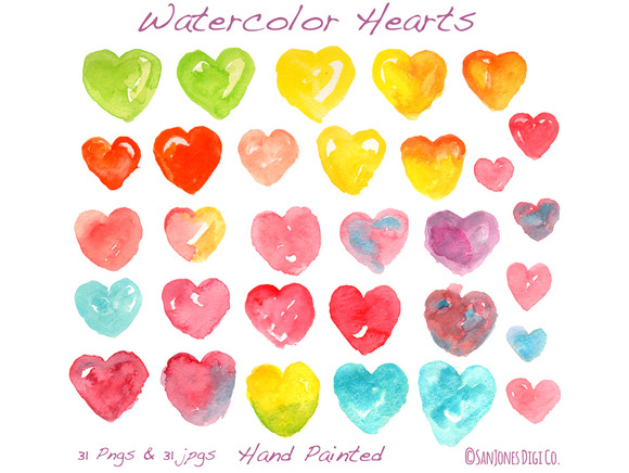 Watercolor Hearts Hand Painted