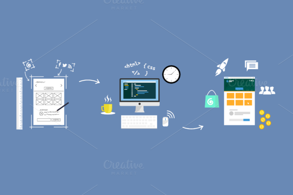 Flat Idea Concept Web Developer