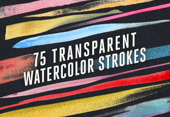 75 Transparent Watercolor Strokes