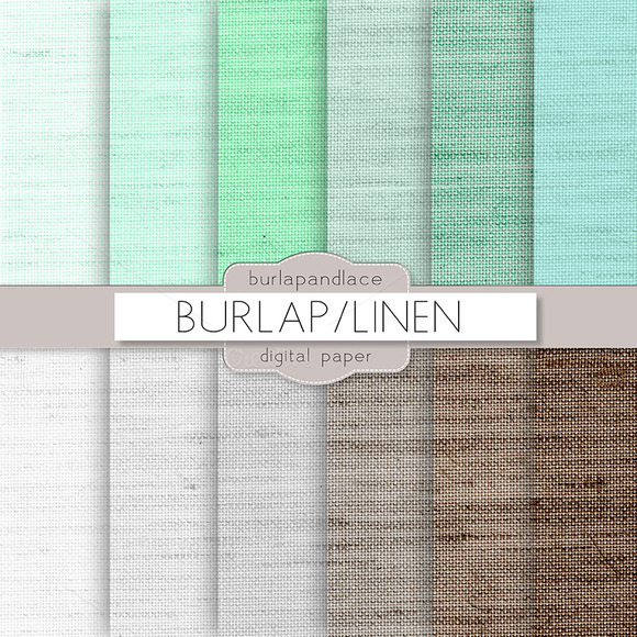 Mint Grey Brown Linen Burlap Digital