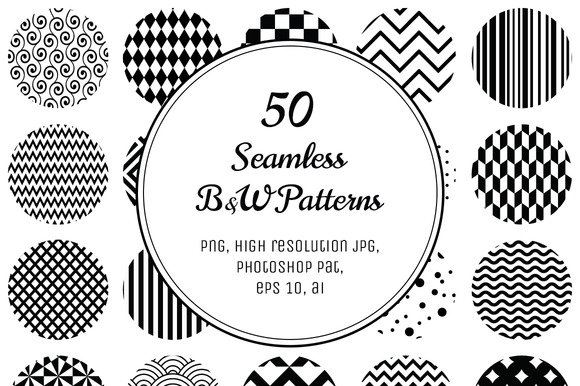 50 Geometric B W Seamless Patterns