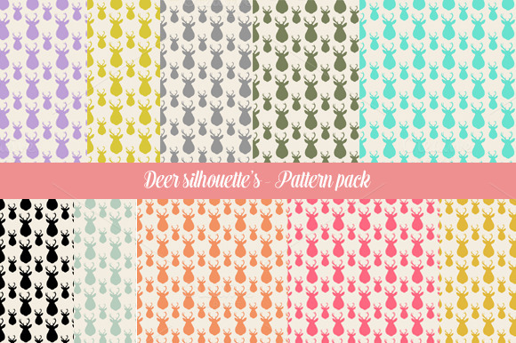 Seemless Deer Silhouette S 10 Pack