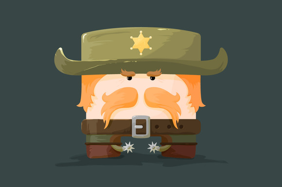 Cartoon Sheriff With Mustaches