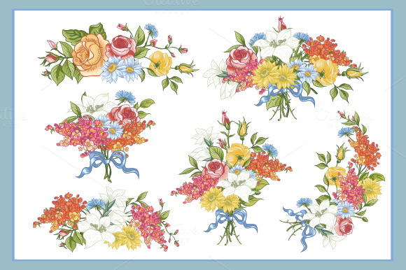 Set Of Floral Bouquets In Vector