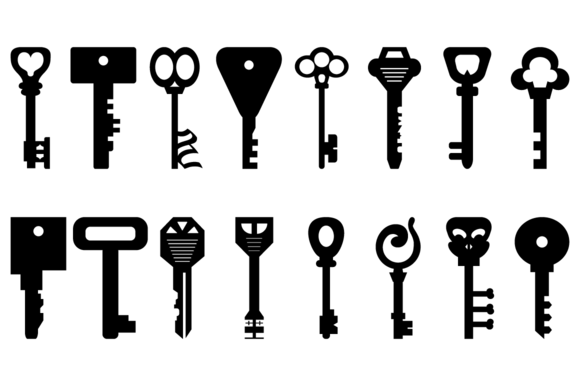16 Vector Key Silhouettes