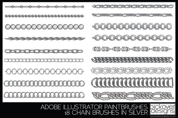 18 Vector Chain Brushes Illustrator