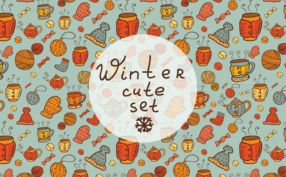 Winter Cute Patterns Elements