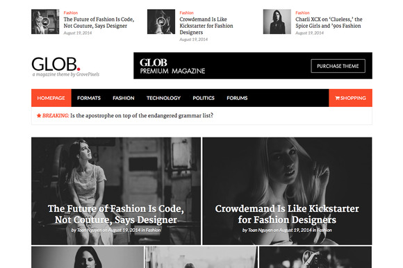 Glob Magazine Wordpress Theme