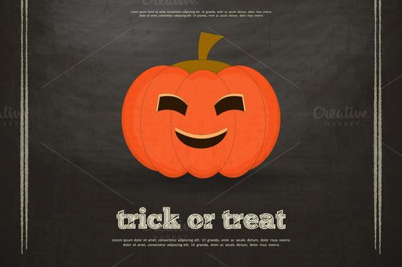 Halloween Card On Black Chalkboard