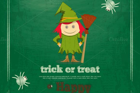 Halloween Card On Green Chalkboard