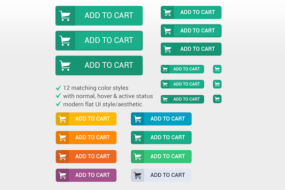 Flat Design Shopping Cart Buttons