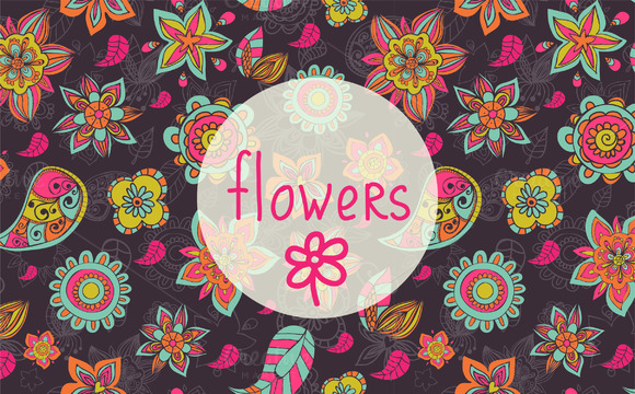 Vector Doodle Flowers Patterns