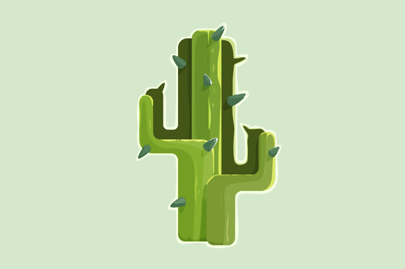 The Green Cactus In A Desert