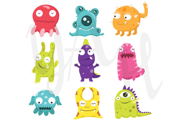 Cute Litter Monsters Clip Art