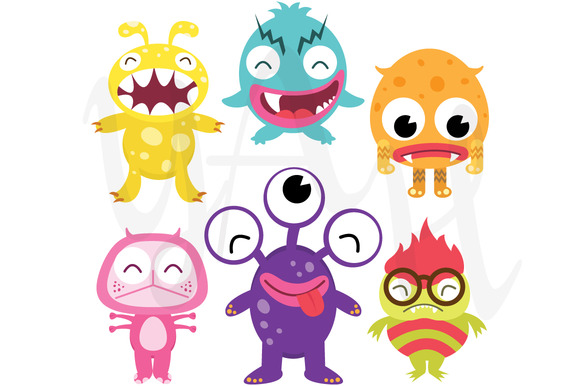 Silly Cute Monsters Clip Art