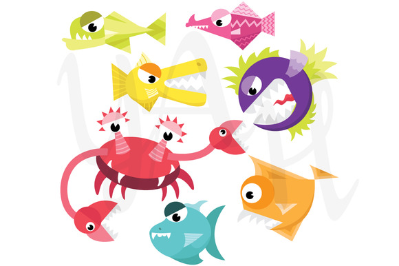Cute Monster Fish Clip Art