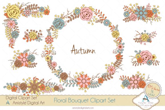 Autumn Floral Bouquet Clipart Vector