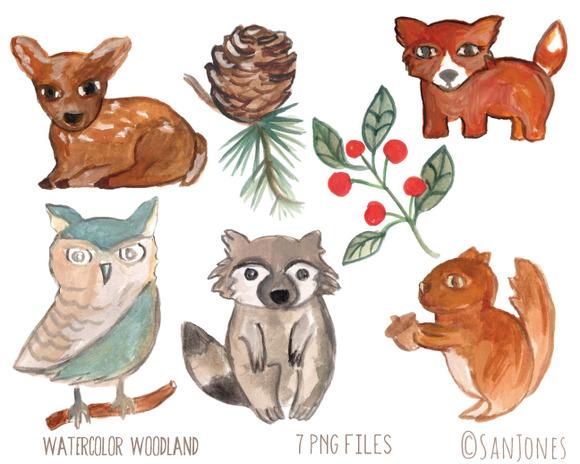 Watercolor Woodland Animals Flora