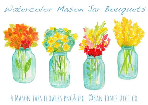 Watercolor Mason Jar Bouquets